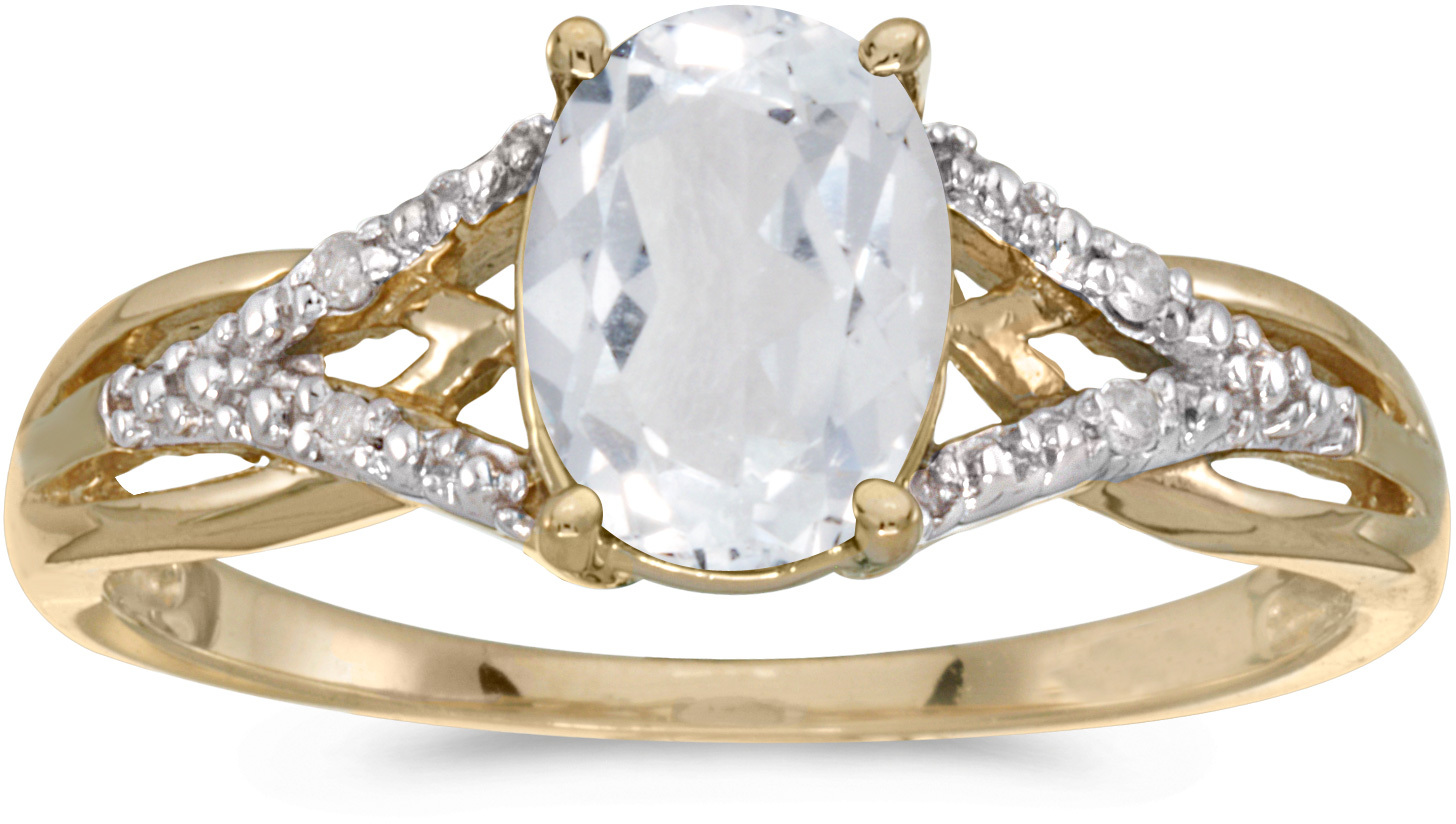 10k Yellow Gold Oval White Topaz And Diamond Ring (CM-RM2620-04)