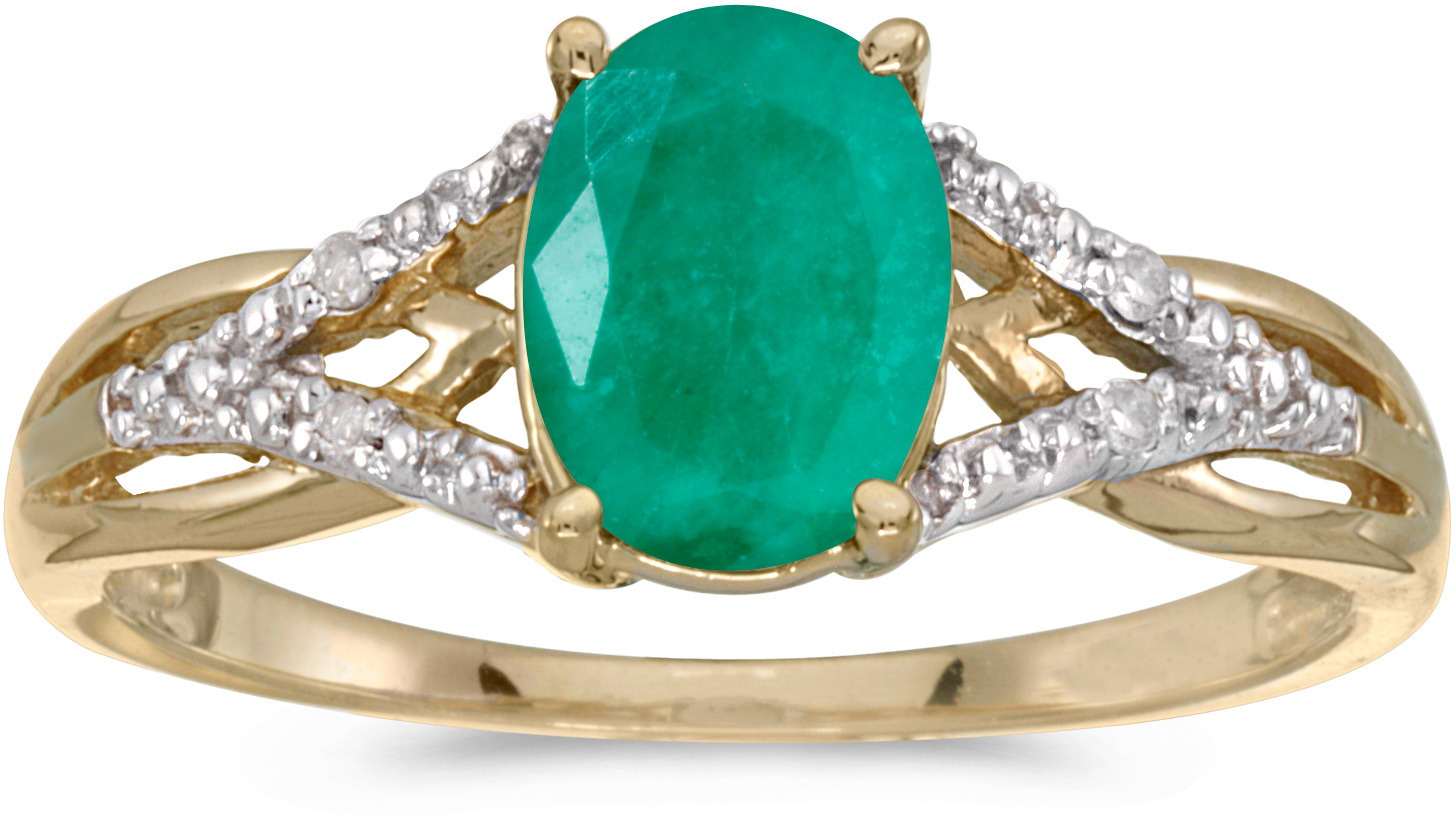 10k Yellow Gold Oval Emerald And Diamond Ring (CM-RM2620-05)