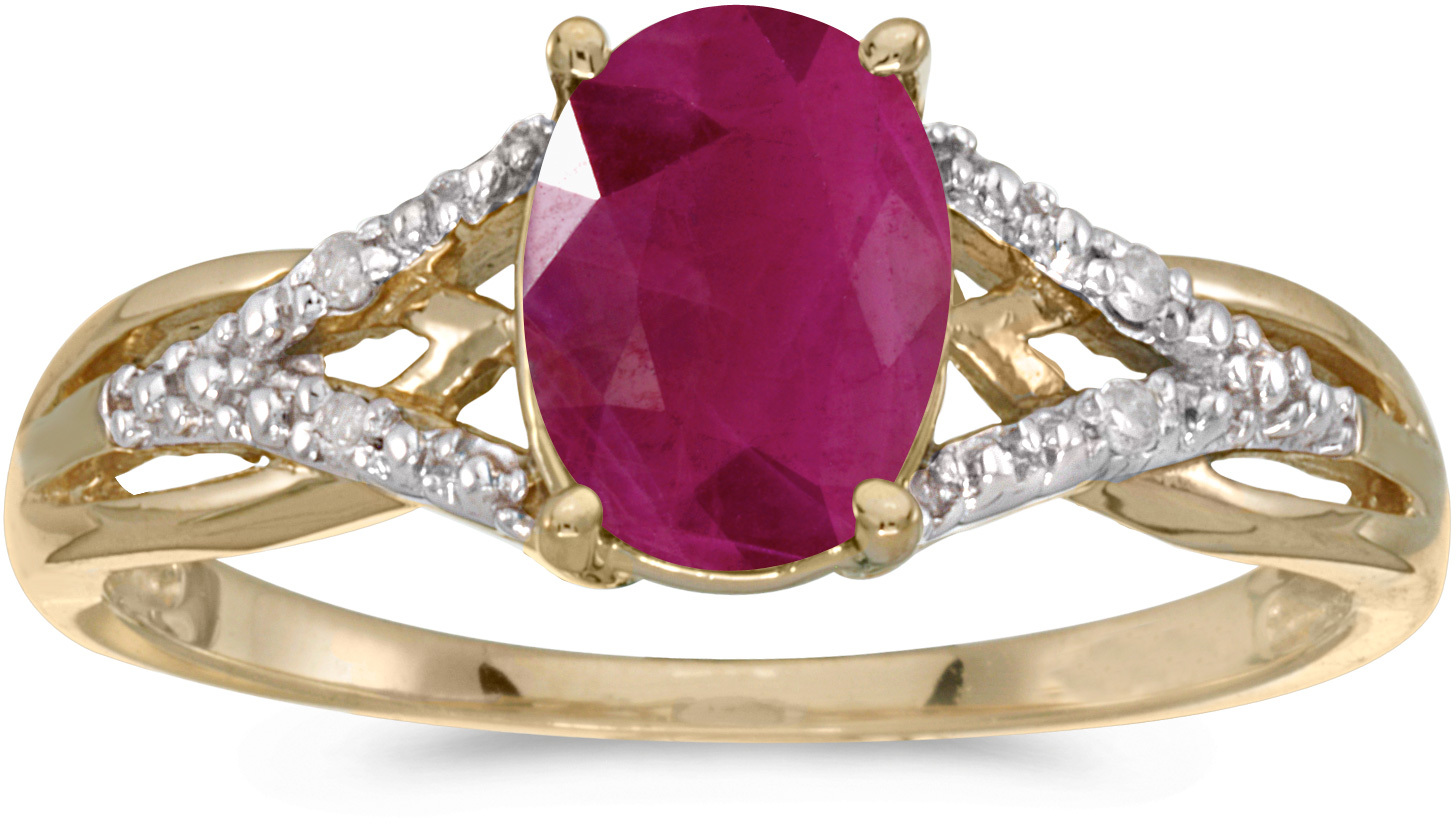 10k Yellow Gold Oval Ruby And Diamond Ring (CM-RM2620-07)