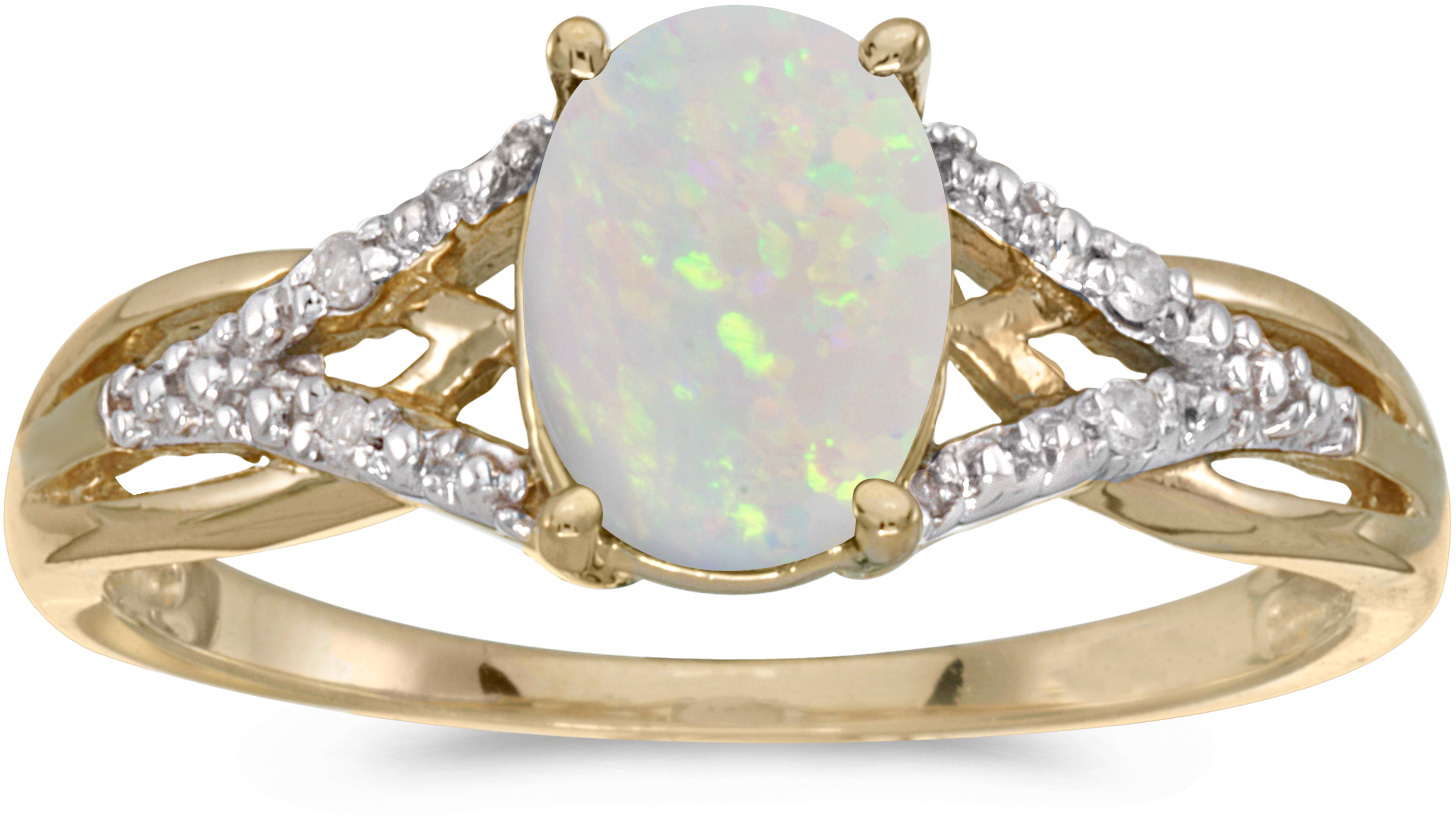 10k Yellow Gold Oval Opal And Diamond Ring (CM-RM2620-10)
