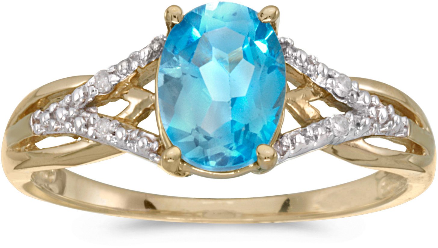 10k Yellow Gold Oval Blue Topaz And Diamond Ring (CM-RM2620-12)