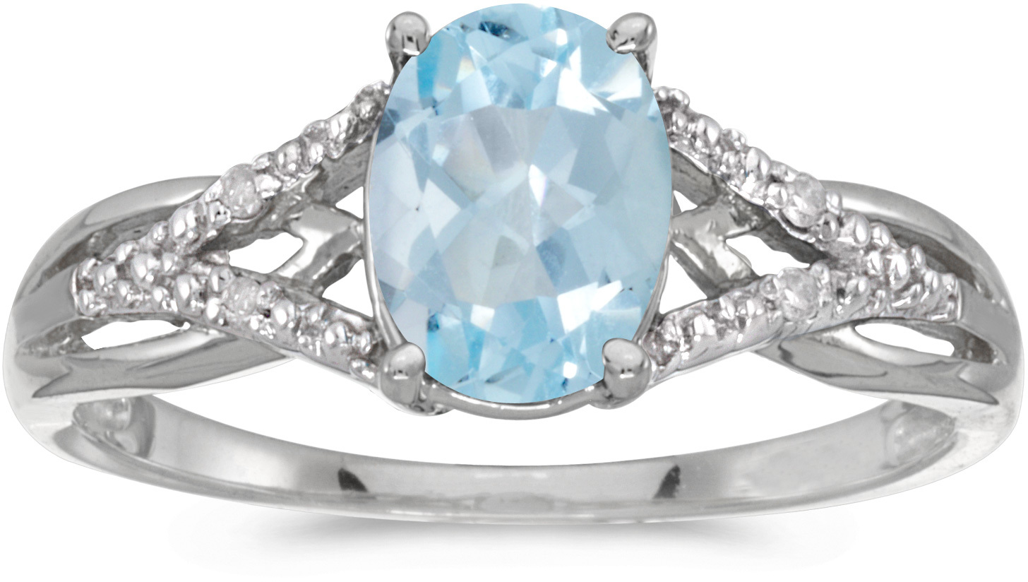 10k White Gold Oval Aquamarine And Diamond Ring (CM-RM2620W-03)