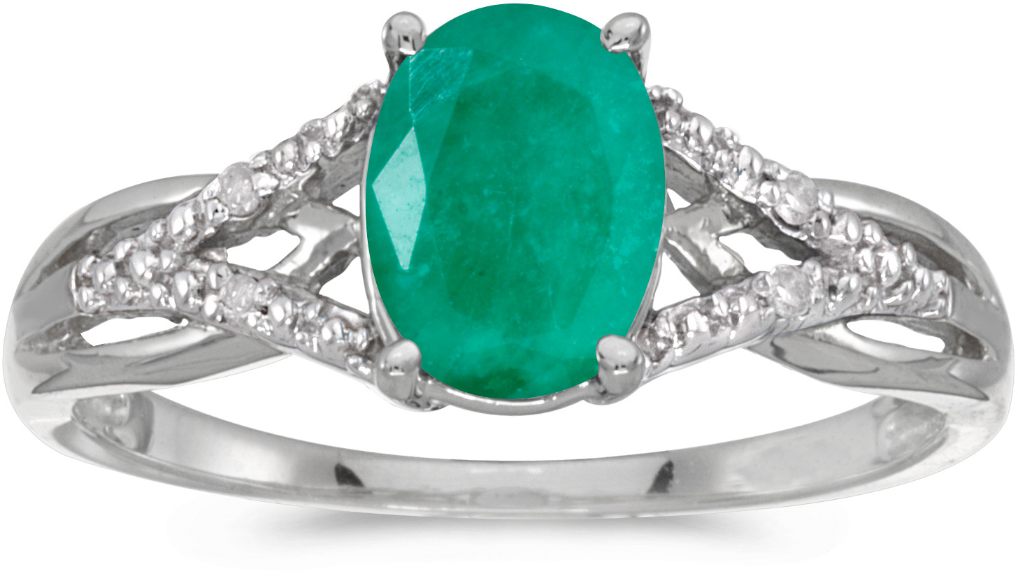 10k White Gold Oval Emerald And Diamond Ring (CM-RM2620W-05)