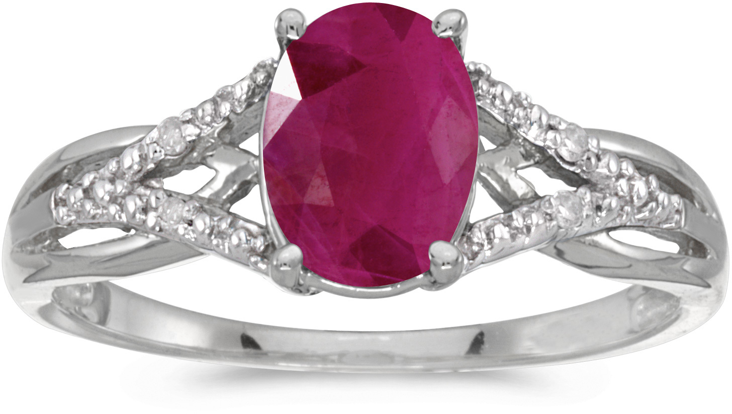 10k White Gold Oval Ruby And Diamond Ring (CM-RM2620W-07)