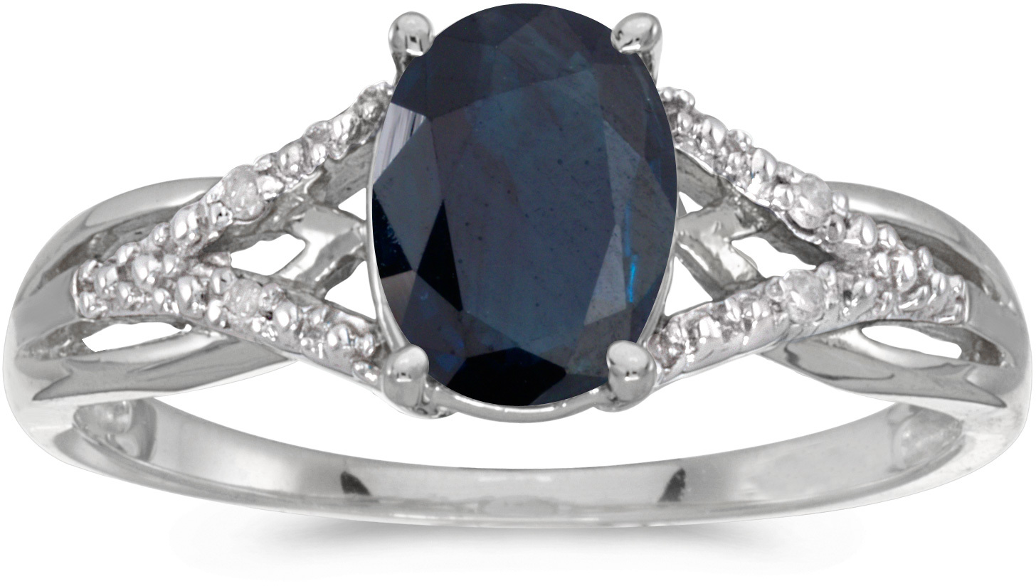 10k White Gold Oval Sapphire And Diamond Ring (CM-RM2620W-09)