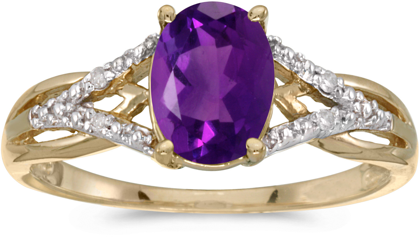 14k Yellow Gold Oval Amethyst And Diamond Ring (CM-RM2620X-02)