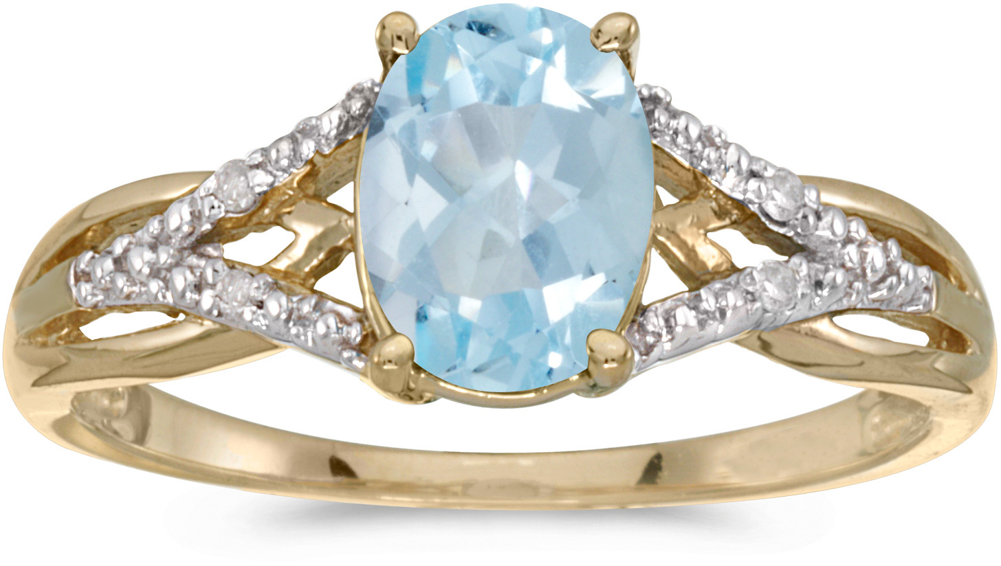 14k Yellow Gold Oval Aquamarine And Diamond Ring (CM-RM2620X-03)