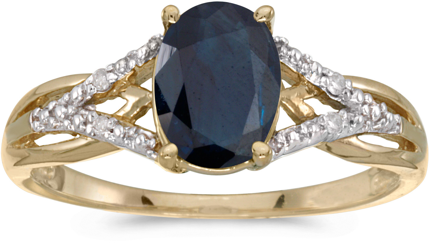 14k Yellow Gold Oval Sapphire And Diamond Ring (CM-RM2620X-09)