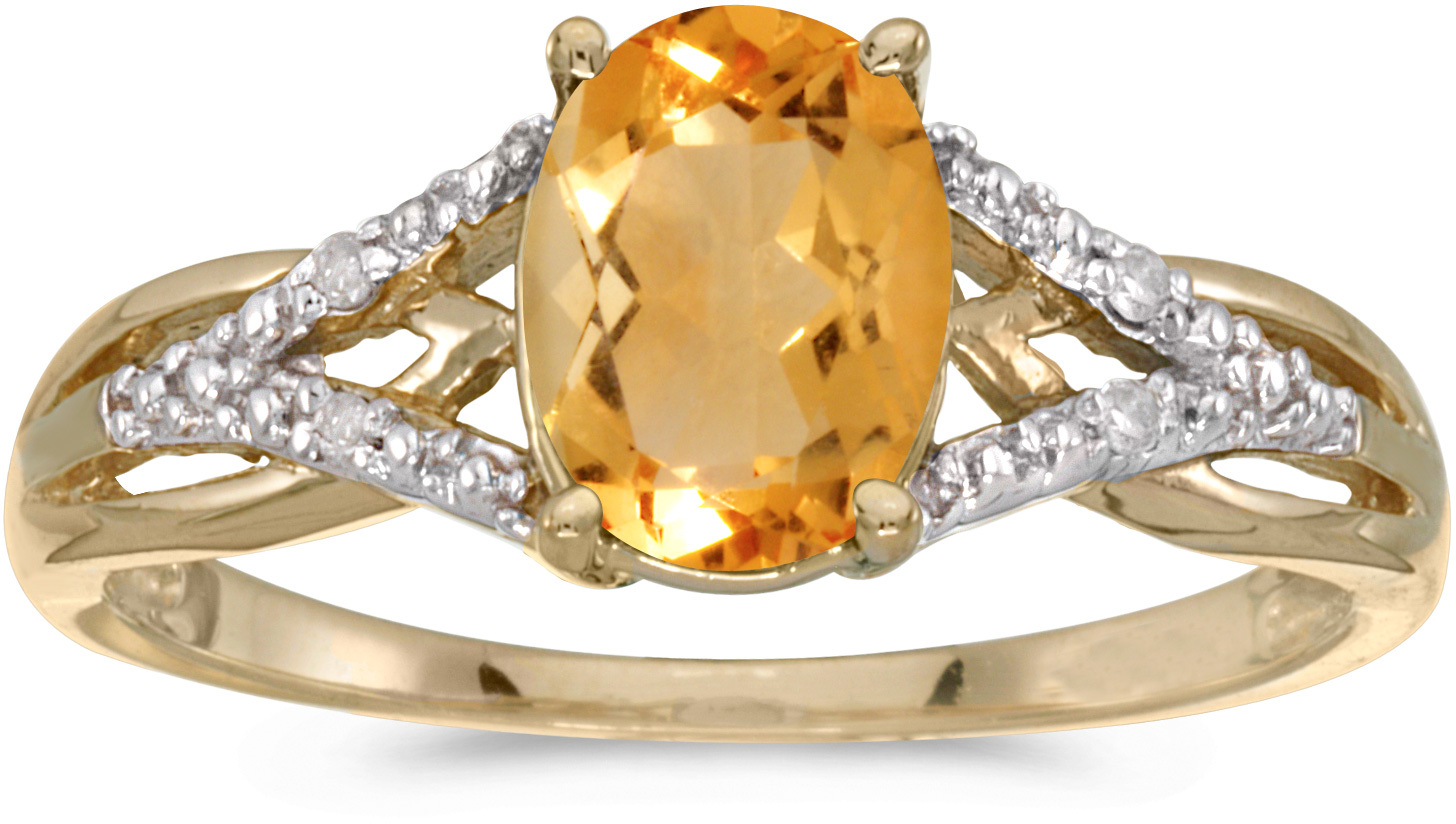 14k Yellow Gold Oval Citrine And Diamond Ring (CM-RM2620X-11)