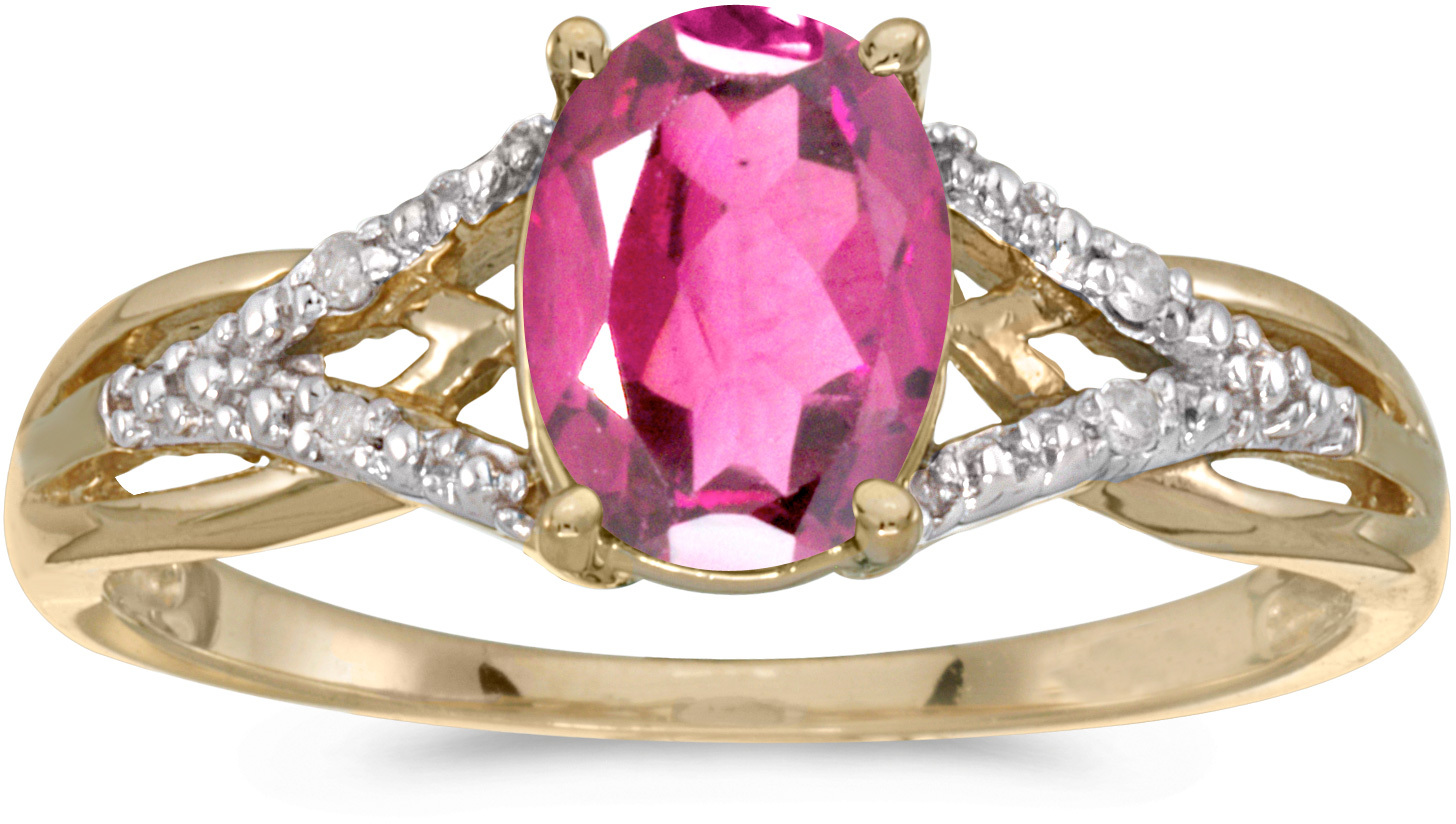 14k Yellow Gold Oval Pink Topaz And Diamond Ring (CM-RM2620X-PT)