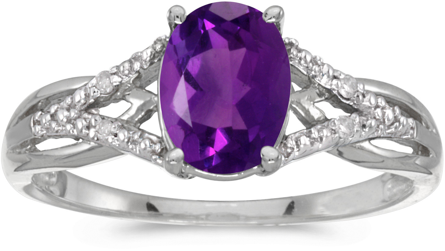 14k White Gold Oval Amethyst And Diamond Ring (CM-RM2620XW-02)