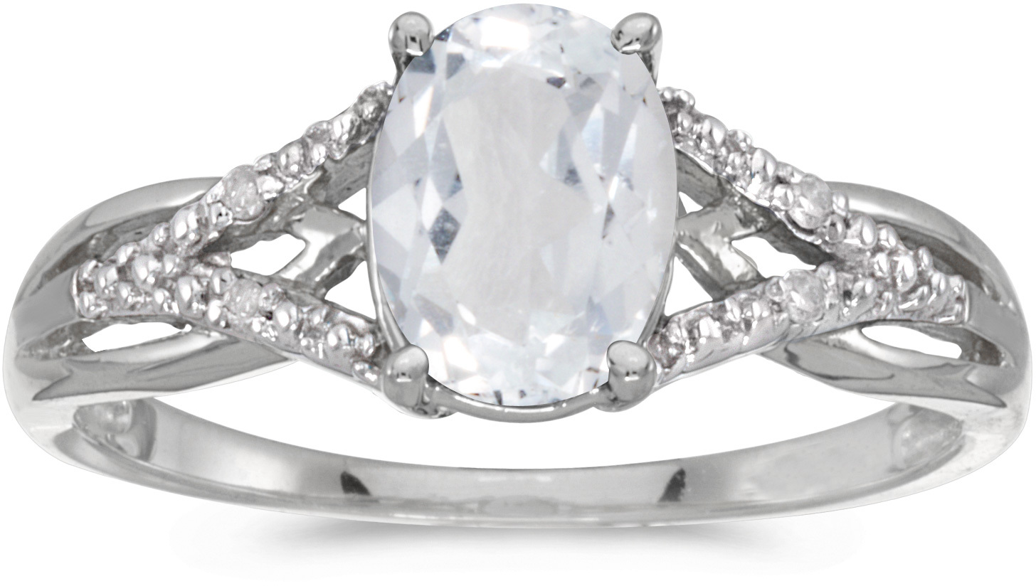 14k White Gold Oval White Topaz And Diamond Ring (CM-RM2620XW-04)