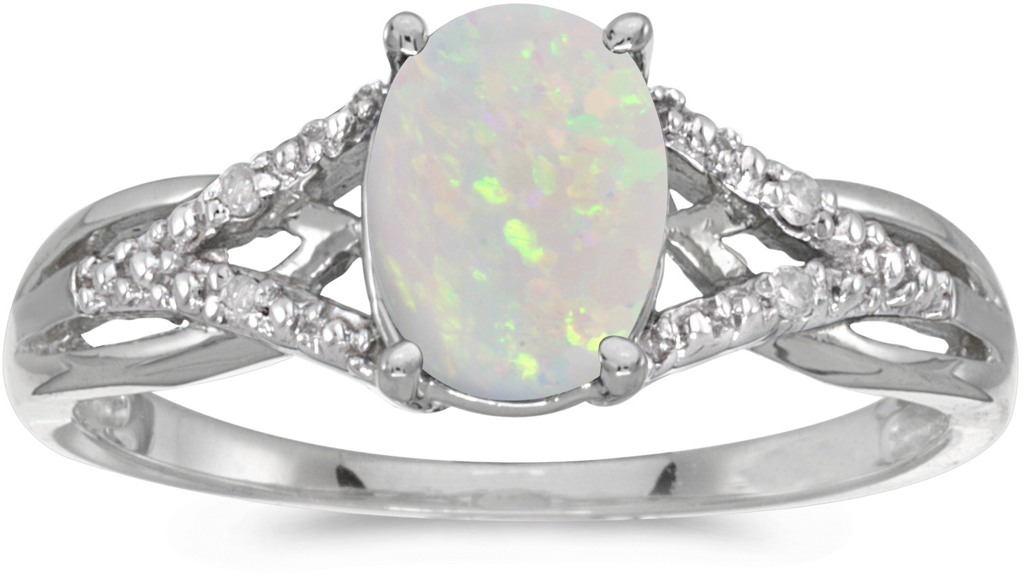 14k White Gold Oval Opal And Diamond Ring (CM-RM2620XW-10)