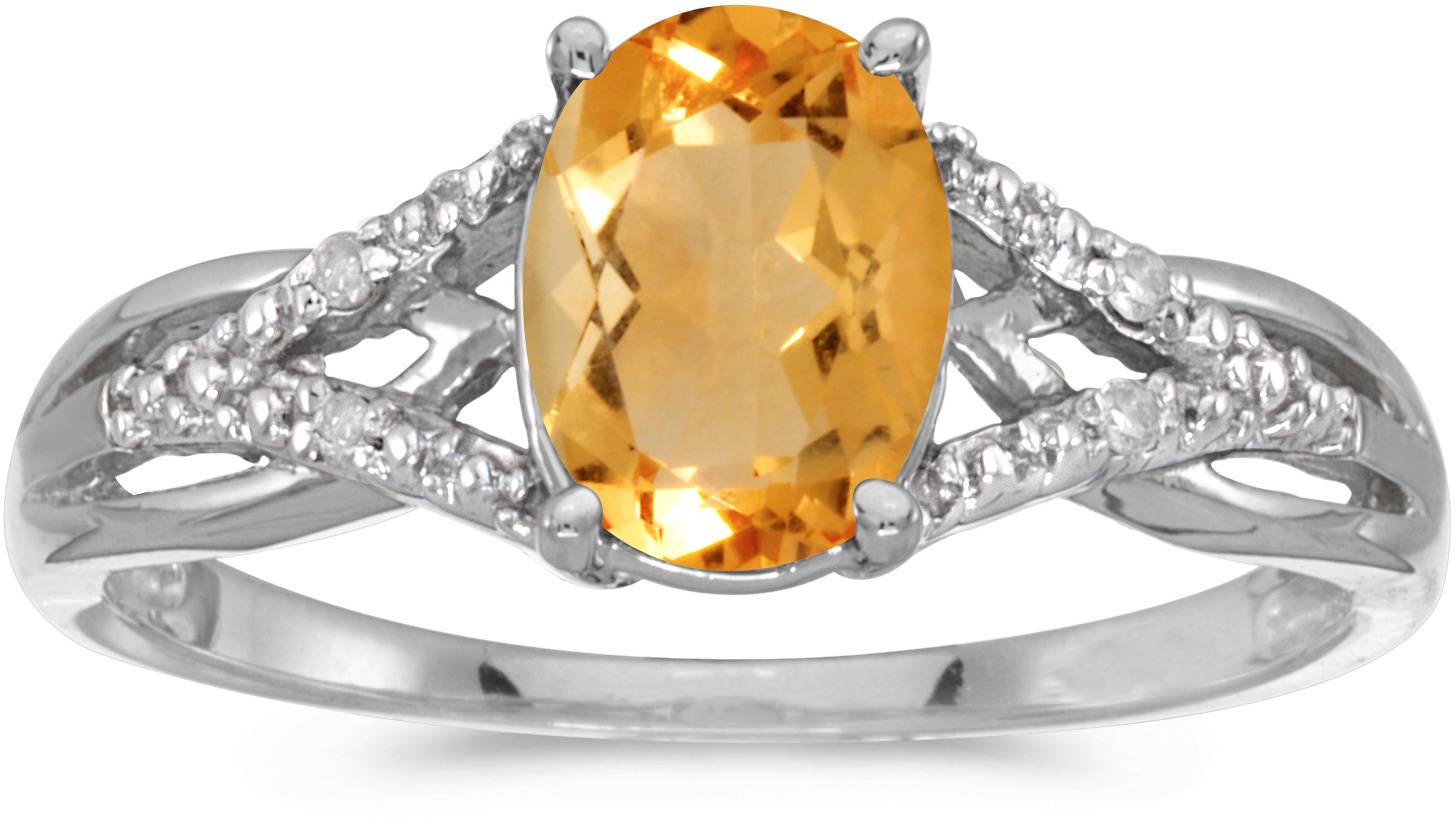 14k White Gold Oval Citrine And Diamond Ring (CM-RM2620XW-11)