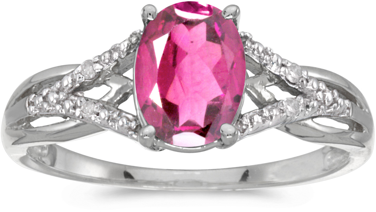 14k White Gold Oval Pink Topaz And Diamond Ring (CM-RM2620XW-PT)