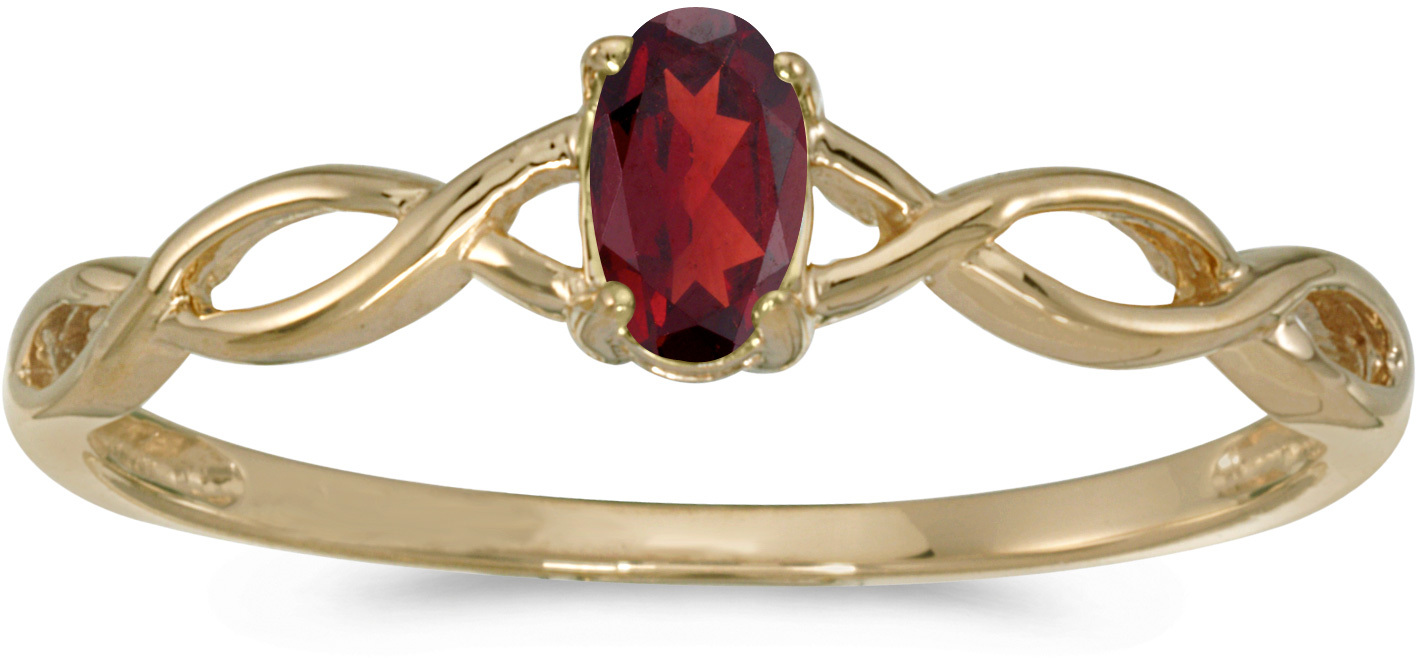 10k Yellow Gold Oval Garnet Ring (CM-RM2726-01)