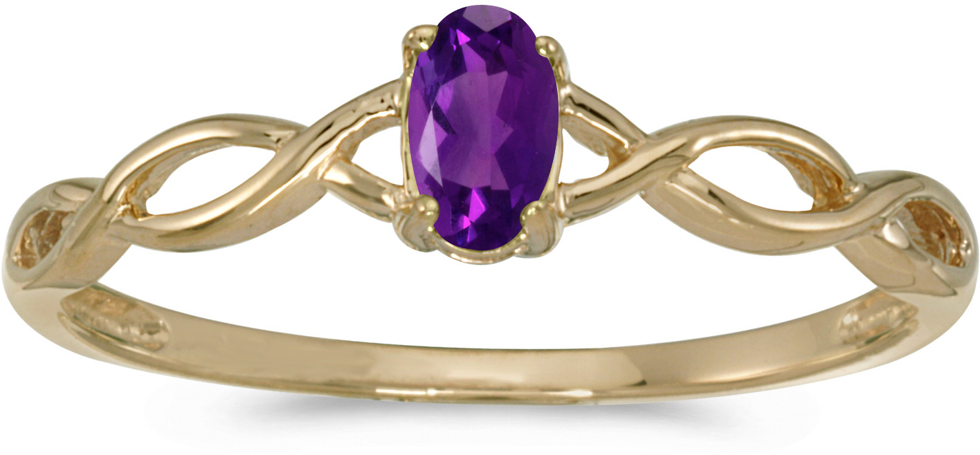 10k Yellow Gold Oval Amethyst Ring (CM-RM2726-02)