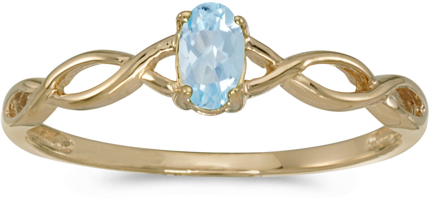 10k Yellow Gold Oval Aquamarine Ring (CM-RM2726-03)