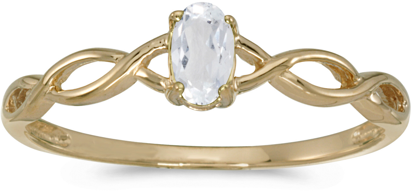 10k Yellow Gold Oval White Topaz Ring (CM-RM2726-04)