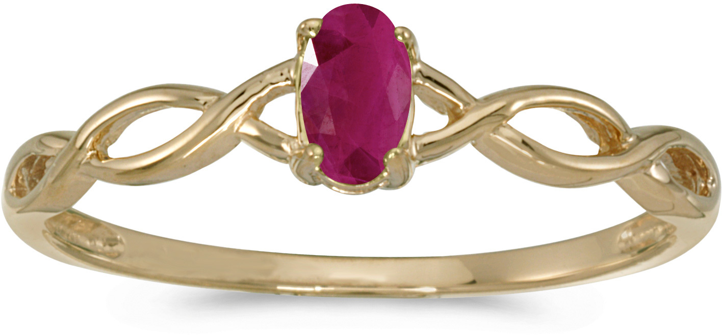 10k Yellow Gold Oval Ruby Ring (CM-RM2726-07)