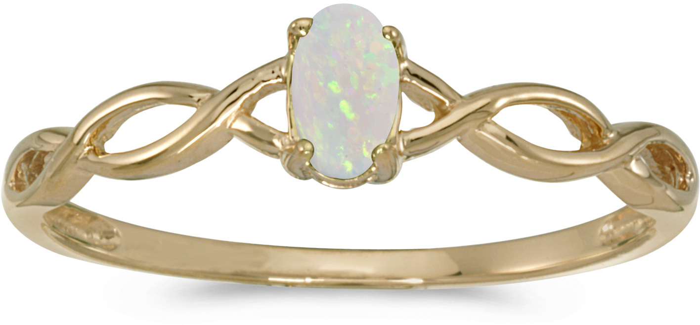 10k Yellow Gold Oval Opal Ring (CM-RM2726-10)