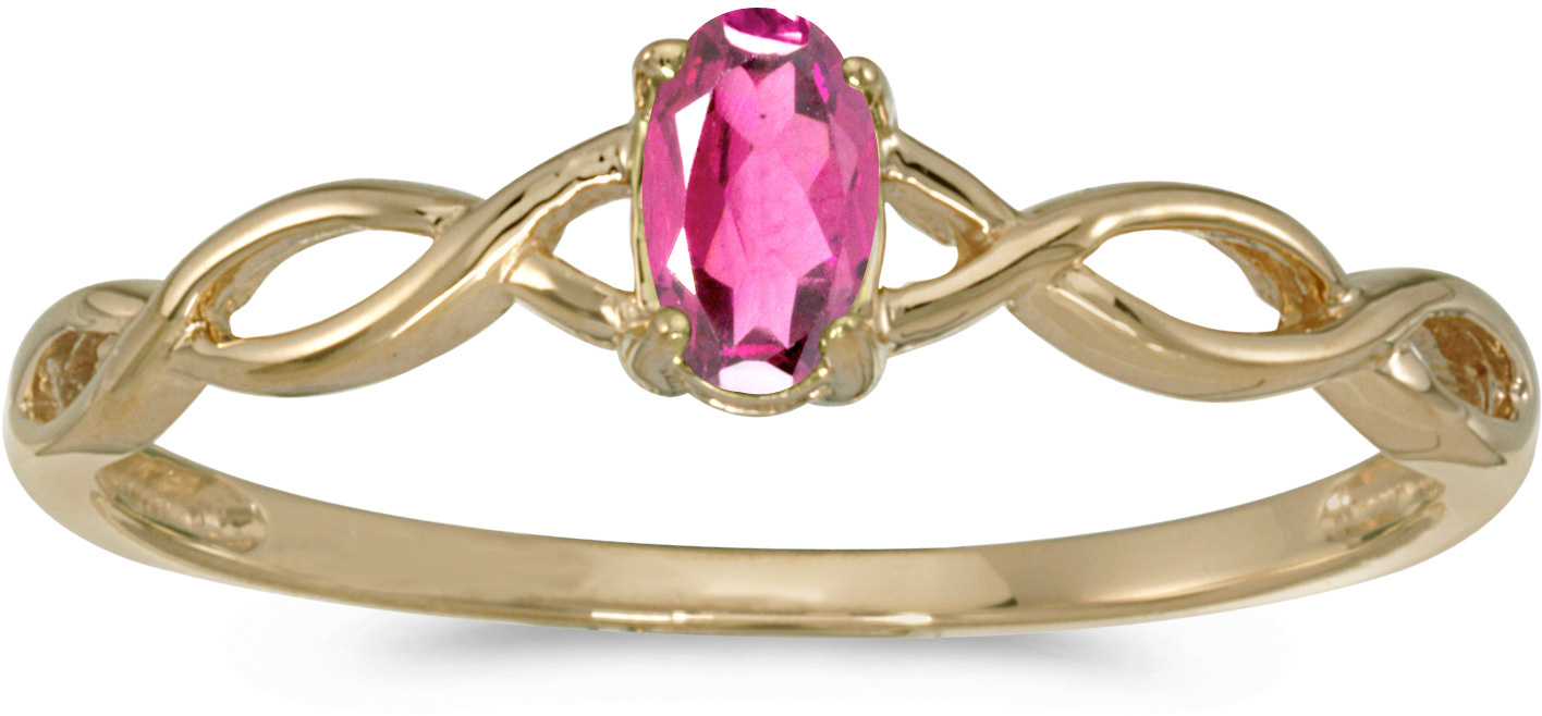10k Yellow Gold Oval Pink Topaz Ring (CM-RM2726-PT)