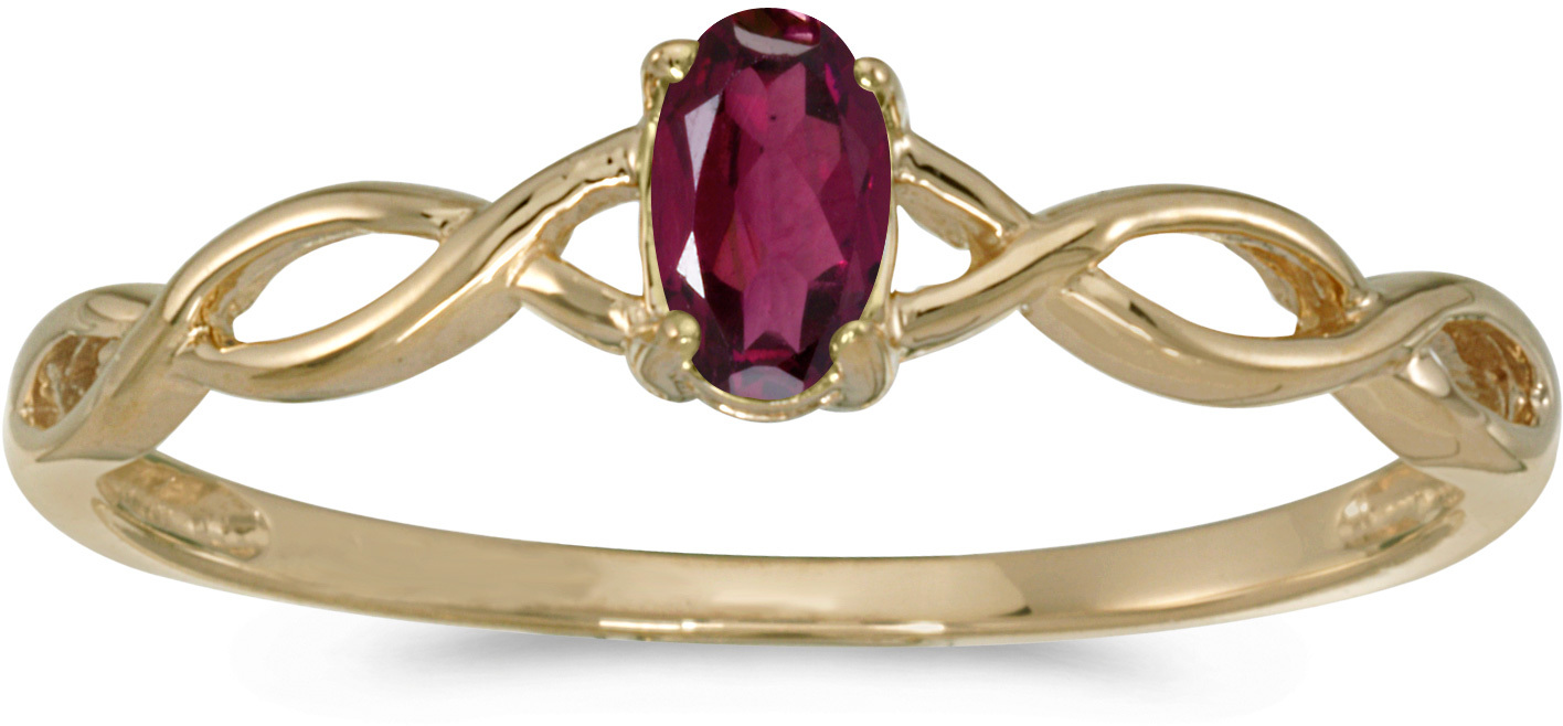 10k Yellow Gold Oval Rhodolite Garnet Ring (CM-RM2726-RG)