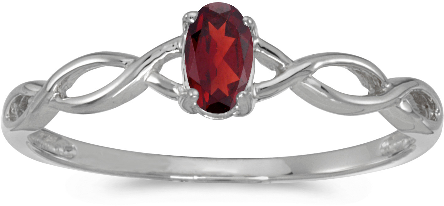 10k White Gold Oval Garnet Ring (CM-RM2726W-01)