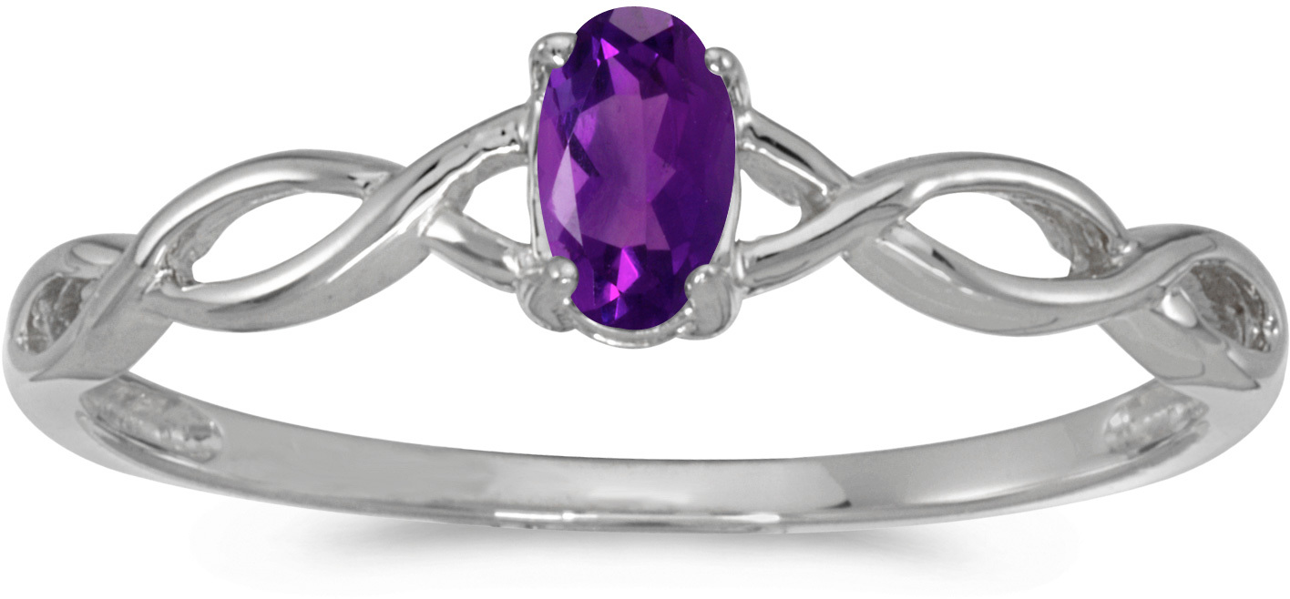 10k White Gold Oval Amethyst Ring (CM-RM2726W-02)