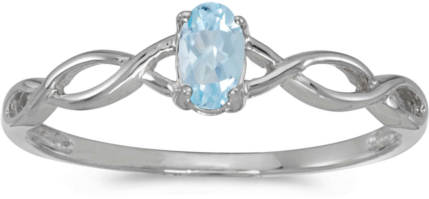 10k White Gold Oval Aquamarine Ring (CM-RM2726W-03)