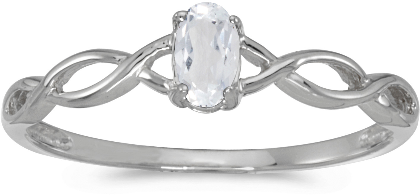 10k White Gold Oval White Topaz Ring (CM-RM2726W-04)