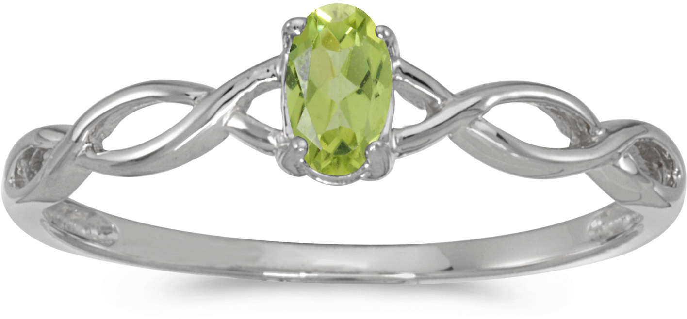 10k White Gold Oval Peridot Ring (CM-RM2726W-08)