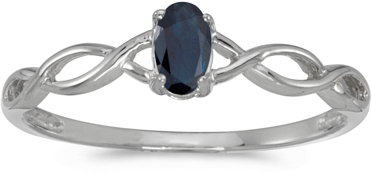 10k White Gold Oval Sapphire Ring (CM-RM2726W-09)