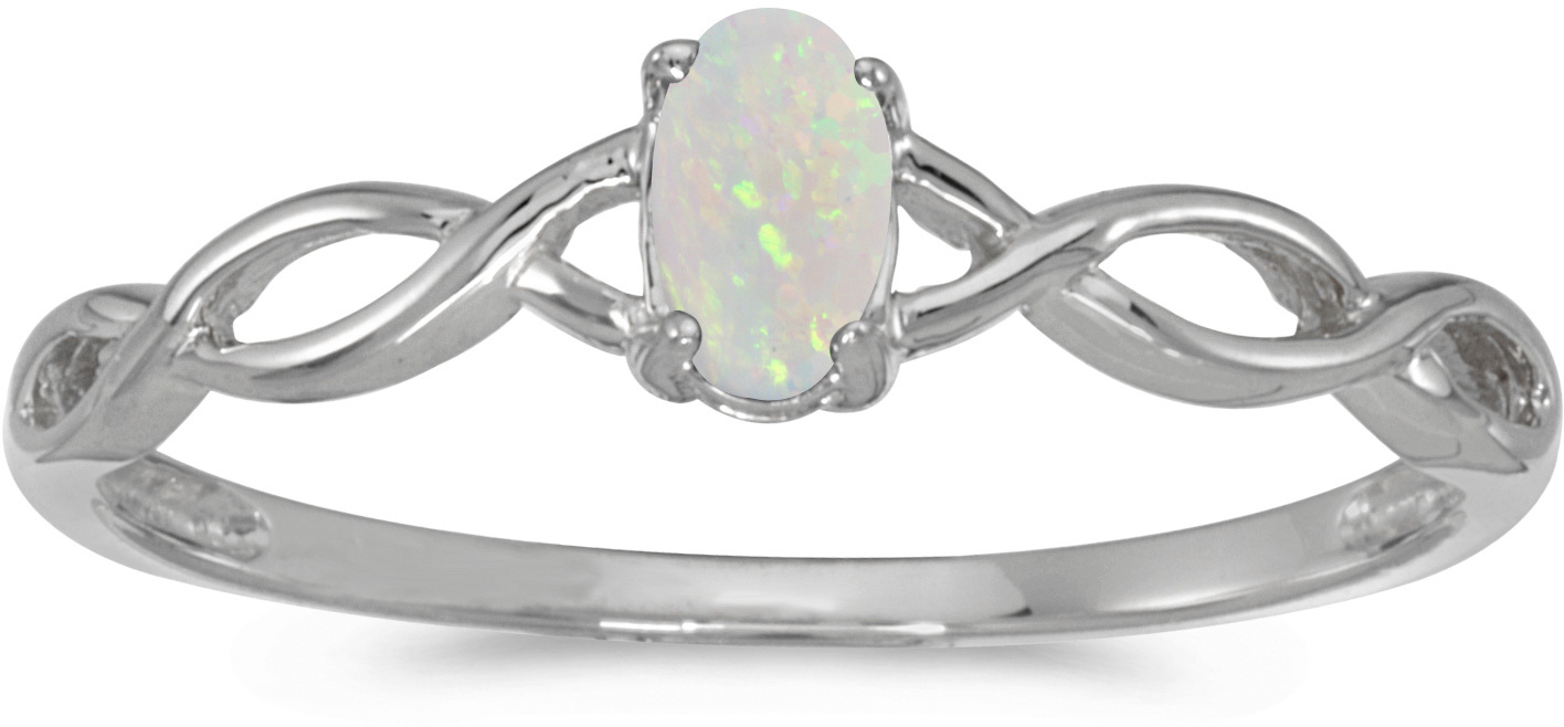 10k White Gold Oval Opal Ring (CM-RM2726W-10)