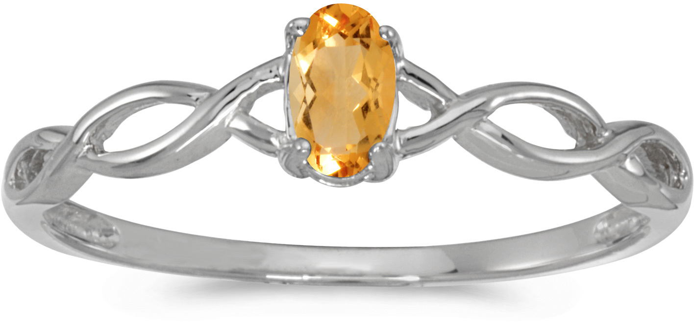 10k White Gold Oval Citrine Ring (CM-RM2726W-11)