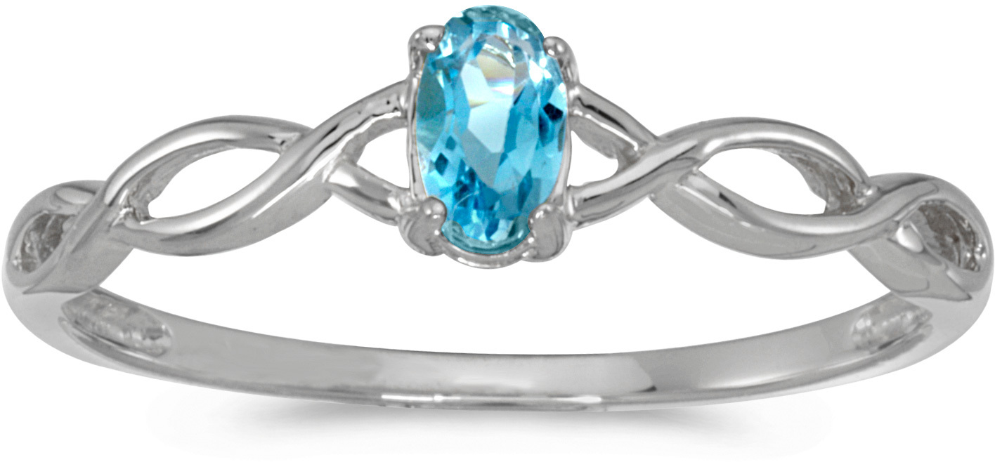 10k White Gold Oval Blue Topaz Ring (CM-RM2726W-12)