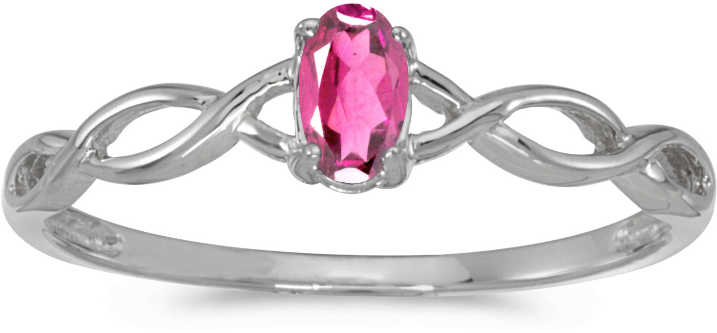 10k White Gold Oval Pink Topaz Ring (CM-RM2726W-PT)