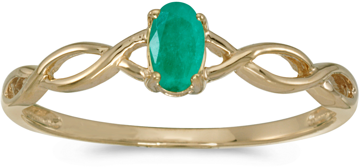 14k Yellow Gold Oval Emerald Ring (CM-RM2726X-05)