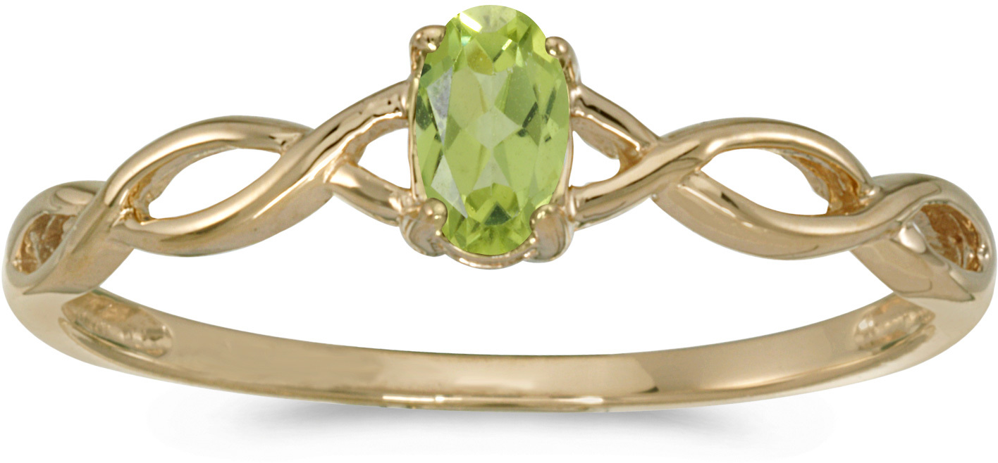 14k Yellow Gold Oval Peridot Ring (CM-RM2726X-08)