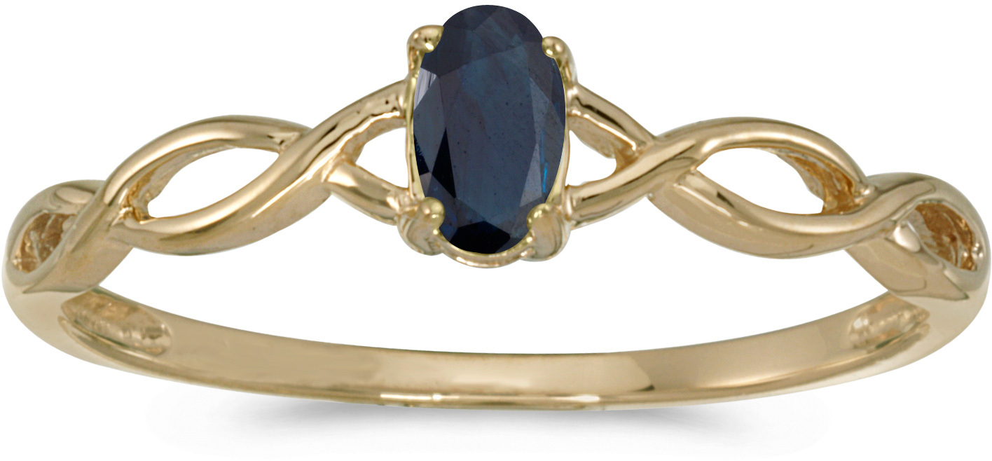 14k Yellow Gold Oval Sapphire Ring (CM-RM2726X-09)