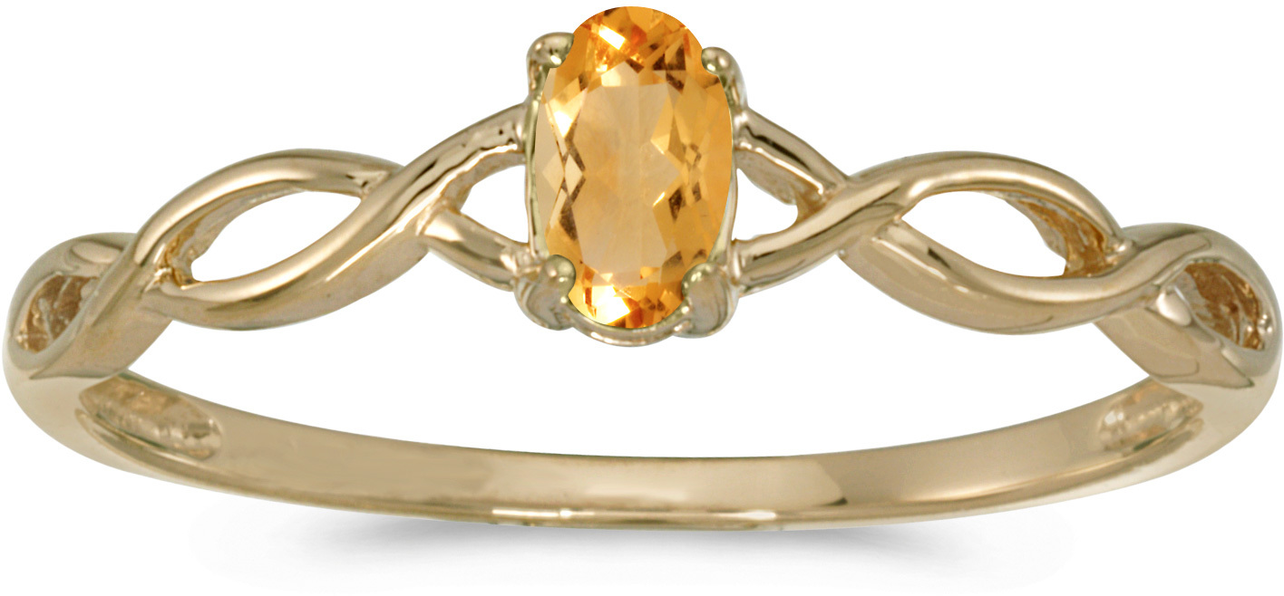 14k Yellow Gold Oval Citrine Ring (CM-RM2726X-11)
