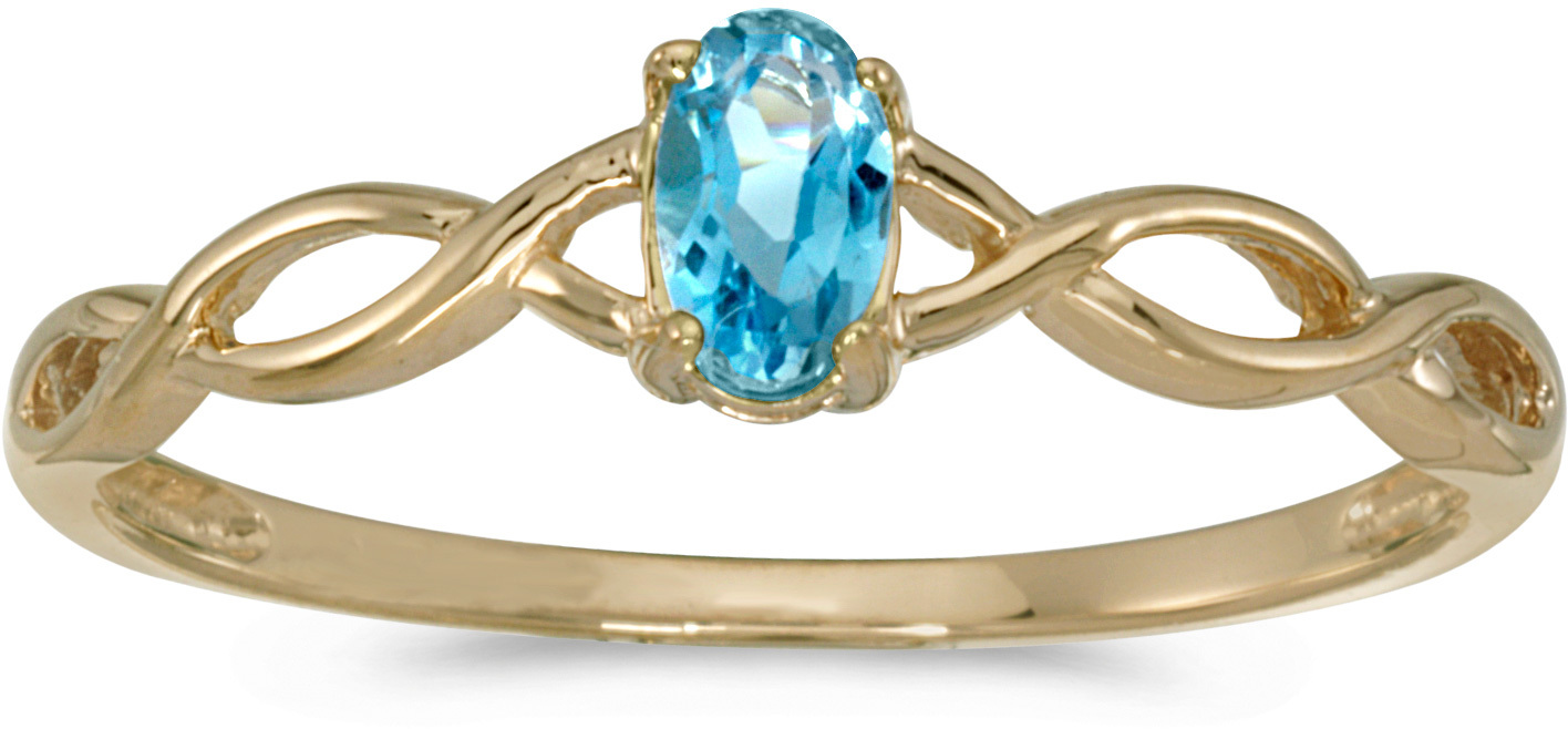 14k Yellow Gold Oval Blue Topaz Ring (CM-RM2726X-12)