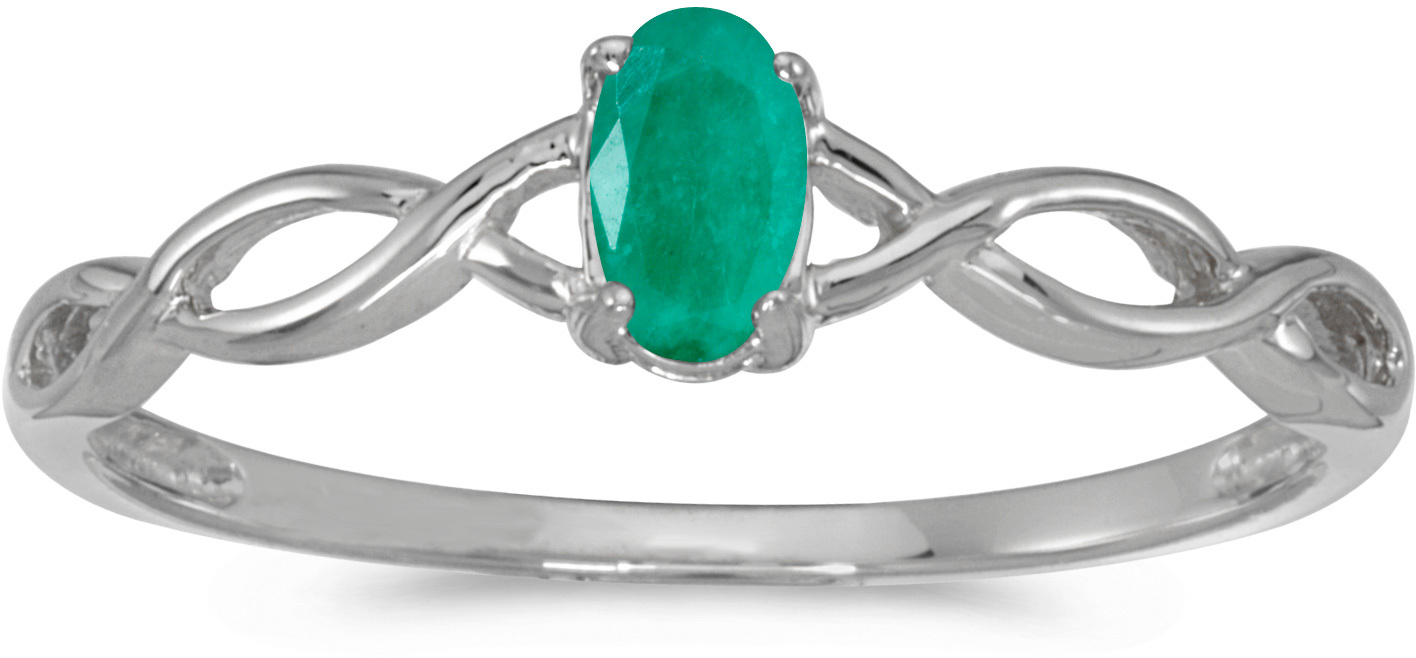 14k White Gold Oval Emerald Ring (CM-RM2726XW-05)