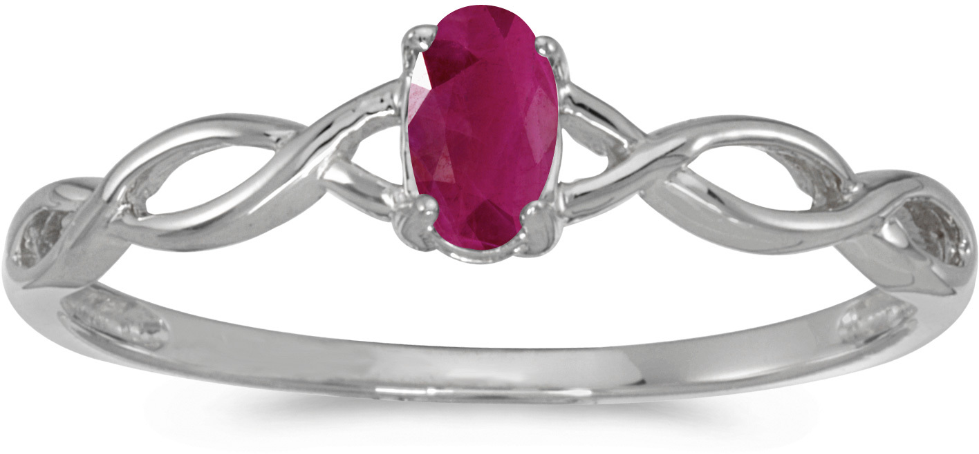 14k White Gold Oval Ruby Ring (CM-RM2726XW-07)
