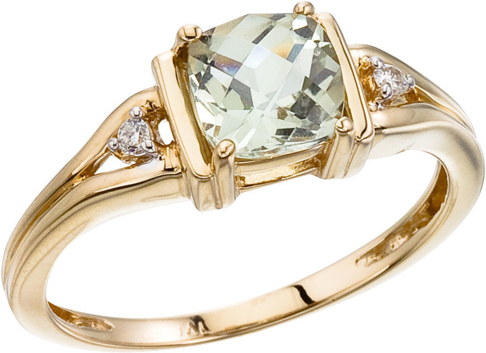 14K Yellow Gold Green Amethyst and Diamond Ring (CM-RM2803-GA)