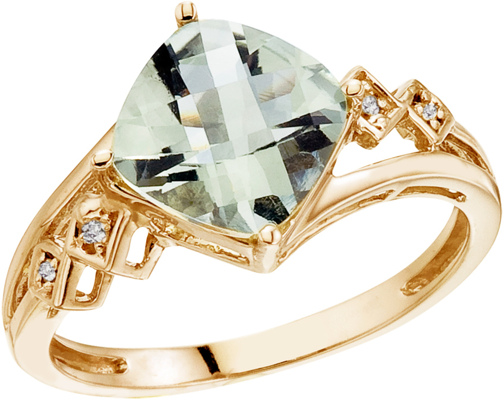 "14K Yellow Gold 8 mm (1/3"") Cushion Green Amethyst and Diamond Ring (CM-RM2808-GA)"