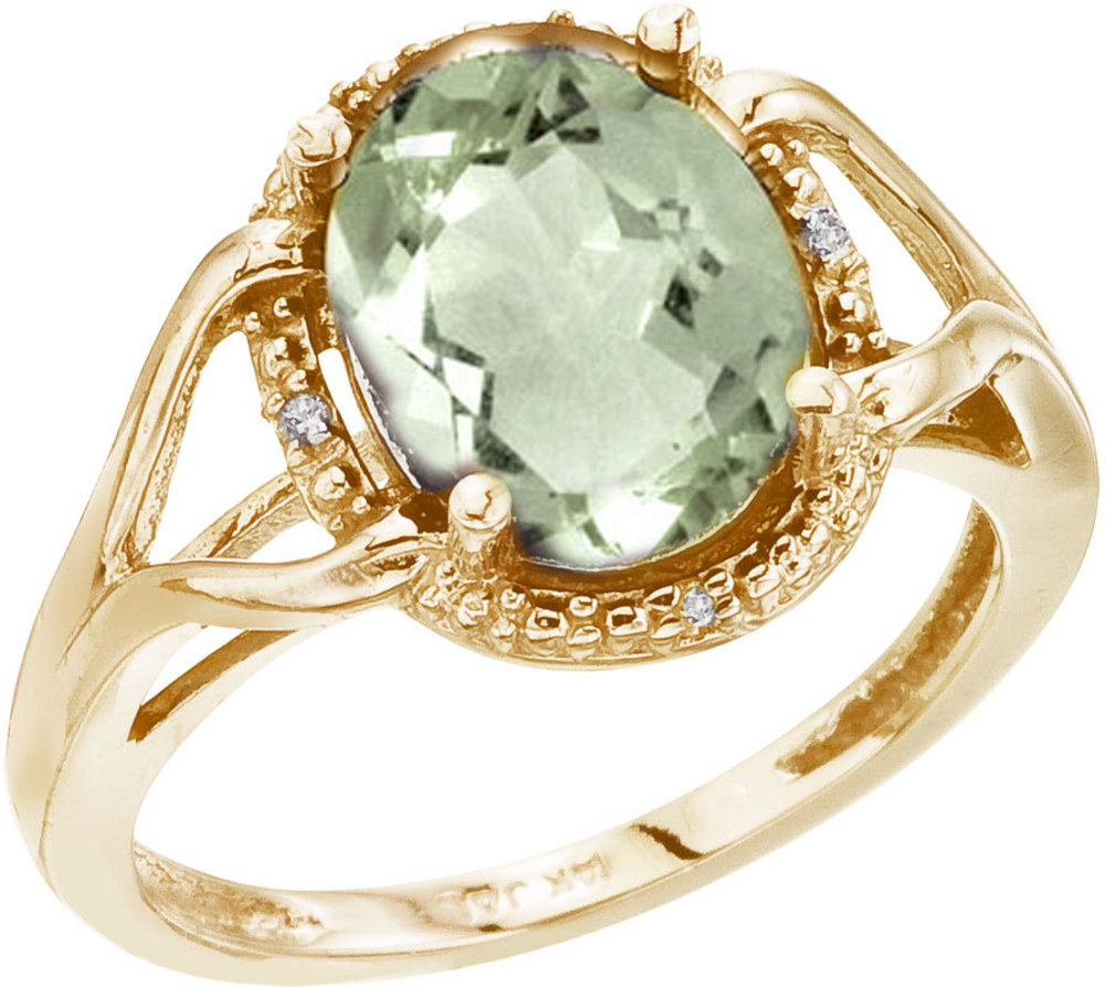 14K Yellow Gold 10x8 Oval Checkerboard Green Amethyst and Diamond Ring (CM-RM2811-GA)