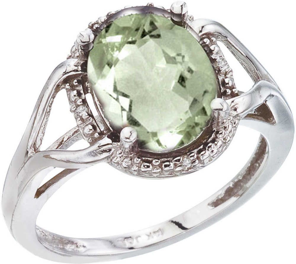 14K White Gold 10x8 Oval Green Amethyst and Diamond Rope Ring (CM-RM2811W-GA)