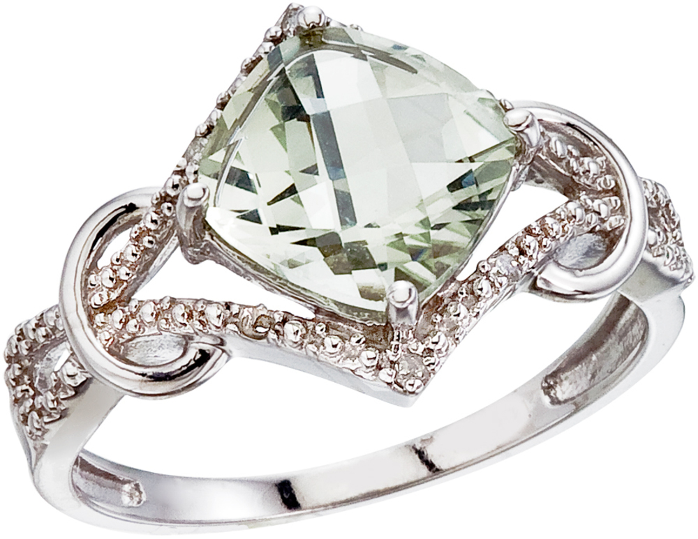 14K White Gold Green Amethyst and Diamond Cushion Ring (CM-RM2813W-GA)