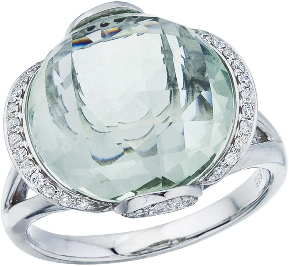 14K White Gold Green Amethyst and Diamond Dome Ring (CM-RM2841W-GA)